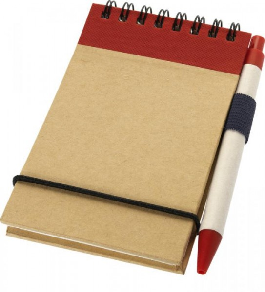 Notizbuch mit Stift Zuse 106269 natur, rot 00