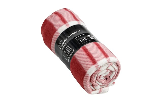 Fleece Decke James&Nicholson Fleece Blanket Checked JN959 wine/off-white