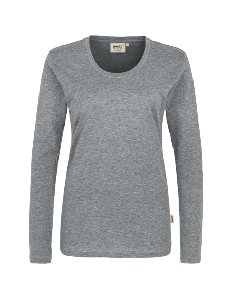 Damen T-Shirt langarm Hakro Classic 178 grau meliert 015_1