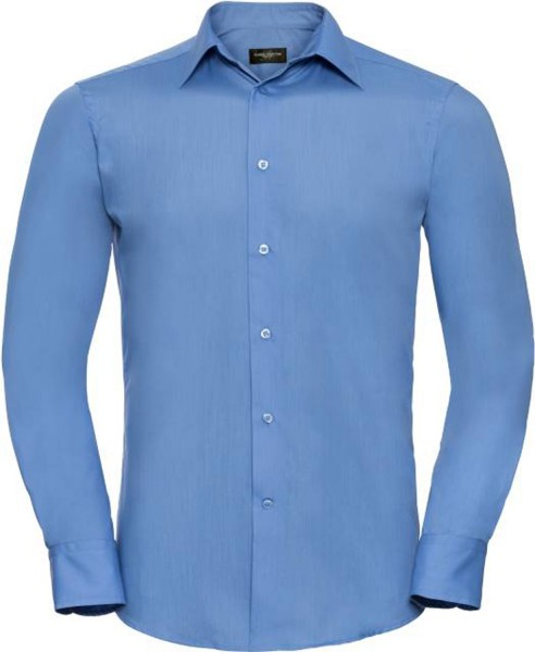 Herren Hemd langarm Russell Collection Tailored Polycotton R-924M-0 Corporate Blue