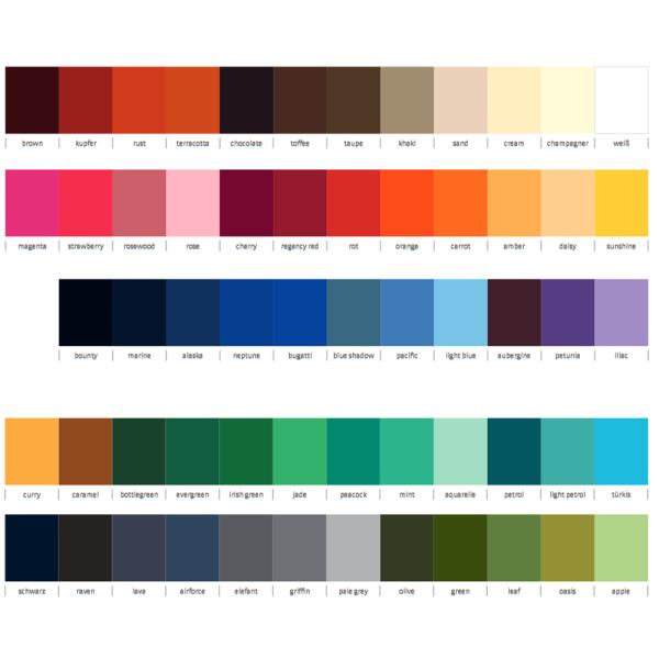 C.G. Workwear Farbkarte 57 Farben