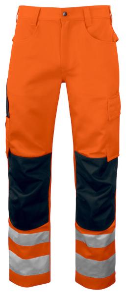Sicherheitshose ProJob 6532 mit Knieverstaerkung EN ISO 20471 Klasse 2 moderner Schritt 646532 Orange/Schwarz 1799