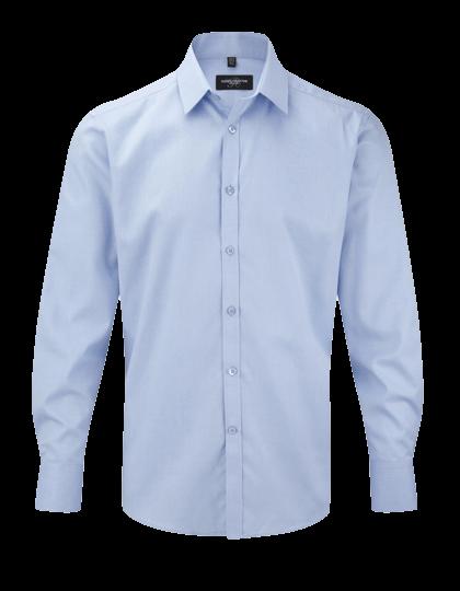 Herren Hemd langarm Russell Herringbone Slim R-962M-0 Light Blue_1