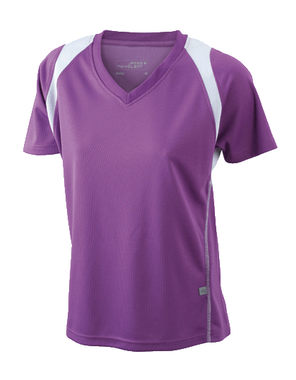 Damen Running-Shirt kurzarm James&Nicholson Running-T JN 396 Purple White_1
