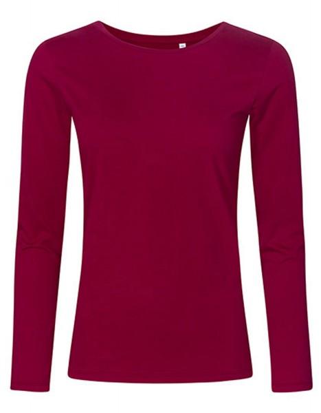 Damen T-Shirt langarm Promodoro Roundneck 1565 Berry