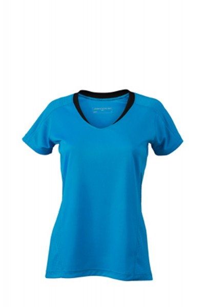 T-Shirt kurzarm James&Nicholson Ladies Running T-Shirt JN471 atlantic/black