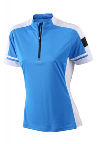 T-Shirt kurzarm James&Nicholson Ladies Bike-T Half Zip JN451 cobalt