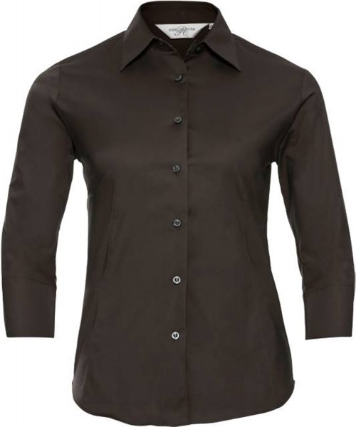 Damen Bluse 3/4 kurzarm Russell Collection Fitted Stretch R-946F-0 Chocolate