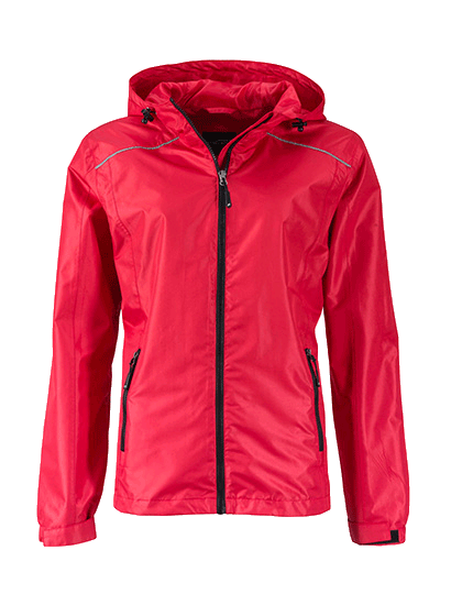 Damen Regenjacke James&Nicholson Rain JN1117 Red Black_1