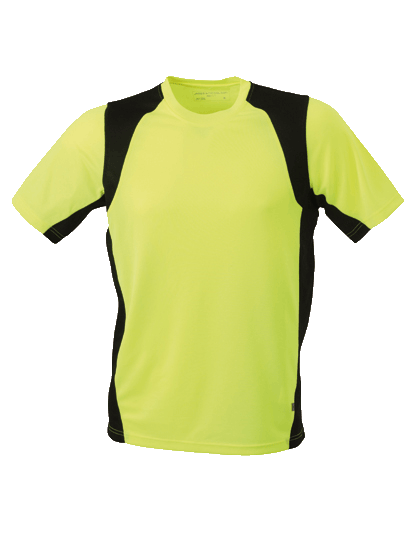 Herren Running-Shirt kurzarm James&Nicholson Running-T JN 306 Fluo-Yellow Black_1