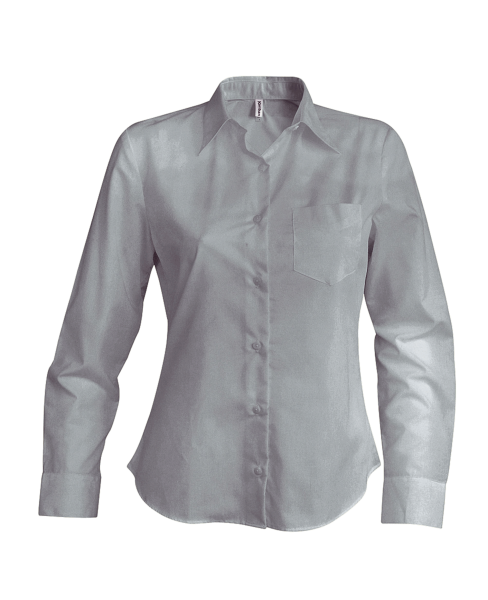 Damen Bluse langarm Kariban K549 Silver_1